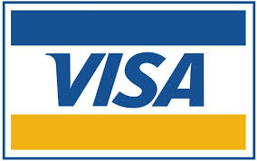 Visa company Logo that is a VISA card with blue stripe on top then the word VISA and gold stripe underneath it.